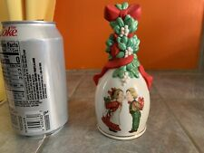 "Vintage Avon 1989 Porcelain Christmas Bell ""Under The Mistletoe"""