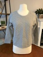 ANN TAYLOR LOFT Petites Gray Quilted Thin Popover Sweater SIZE SP