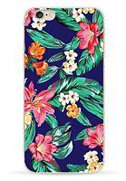 """Coque Gel Souple solide fantaisie pour Apple iPhone 7 (4,7"""") - Fleurs Fond Bleu"""
