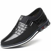 COSIDRAM Men's Shoes Casual Leather Closed Toe Slip On, Slip/on Black, Size 13.0