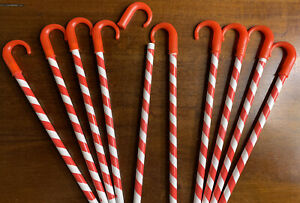 Candy Cane Pencils With Caps (10 Pc) New