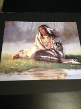 """Indian Girl W/ Wolf Large 16 X 20"""" Picture Print New In Lithograph"""