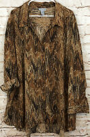 Catherines womens 4X button up blouse shirt brown vneck roll tab sleeve print H5