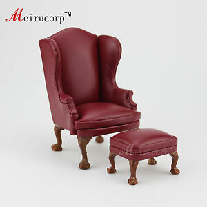 Doll house 1:12 scale Miniature furniture Hand Carved Chair and Ottoman10513