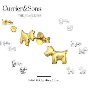 925 Sterling Silver Dog Design Stud Earrings