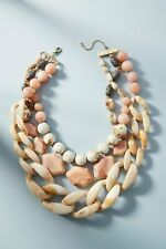NECKLACE ANTHROPOLOGIE NATURAL COLOR BEADS LINKS STATEMENT 3 STRAND NWT $78