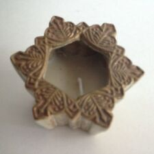 "Snowflake Star Candle Holder and Candle 3"" Wide 2.5"" Tall Taupe & Beige Nwot"