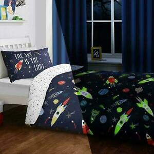 "Bedlam Glow In The Dark ""Space"" Rockets Duvet Quilt Cover Bedding Set Blue"