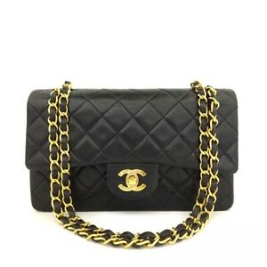 CHANEL Double Flap 23 Quilted CC Logo Lambskin w/Chain Shoulder Bag Black/51388