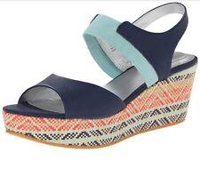 Store Return- Womens 9M Me Too Cara6 Leather Platform Wedge Sandals - Navy