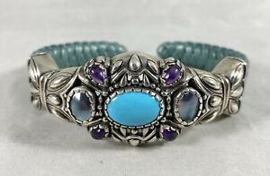 Carolyn Pollack Relios Sterling Silver Turquoise Amethyst Pearl Leather Bracelet
