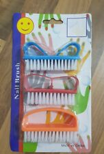 3 Coloured Nail Art Dust Clean Cleaning Brush Manicure Pedicure Tool