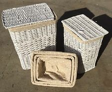 Set 5 Willow Cane Laundry Basket With Lining