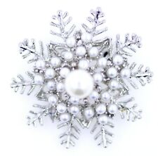 Stunning 3D white and silver pearl frozen snowflake brooch / pin