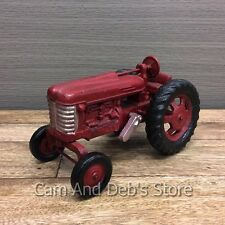 Tractor Cast Iron Sculpture Ornament Red