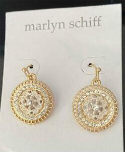 Marlyn Schiff Earrings, round Summer Dangles Rhinestone and Gold tone
