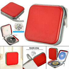 40 CD DVD Carry Case Disc Storage Holder CD Sleeve Wallet Ideal for In Car RED