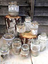 10 Rustic Vintage Wedding Lights Handmade Glass Dusty Lace Jars Candle Holders
