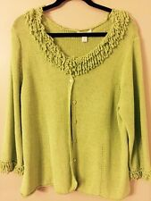 COLDWATER CREEK Woman Lime Green Cardigan Sweater w/ Fringe - 1X