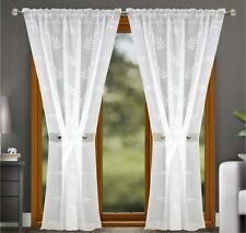 PAIR READY MADE CURTAINS White VOILE TAPE TOP