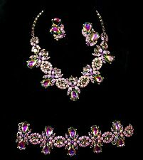 SCHIAPARELLI Tourmaline/Watermelon Crystal Necklace, Bracelet, Clip Earrings Set