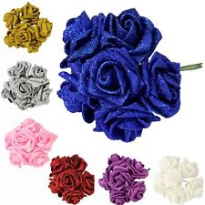 Full Glittered Foam Roses!  Artificial Flowers Bling Glittery Shiny Fake Silk