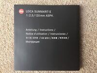 Leica Summarit-S 120mm ASPH Instruction Manual