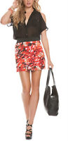 GUESS NEW WOMEN'S SKIRTS NATALIE TIERED SKIRT SZ M MULTICOLOR SEXI