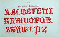 1865 Ornamental Alphabet Aufdruck ~ Henry VII Westminster Abbey