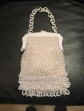 DELILL BEAUTIFUL WHITE HAND BEADED VINTAGE EVENING  BAG