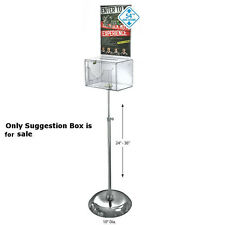 Styrene Clear Large Suggestion Box 9W x 6.25D x 6.25H Inches with Sign,Pedestal