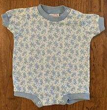 Vintage 70's Tog A Longs Baby Boy One Piece Blue Knit Summer Romper Size 12m