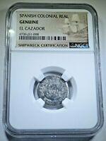 1757 El Cazador Shipwreck 1 Reales Authentic Piece of 8 Real Antique Silver Coin