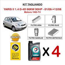 KIT TAGLIANDO OLIO TOTAL 5W40 + FILTRI TOYOTA YARIS II 1.4 D-4D 66KW 2006- 2008