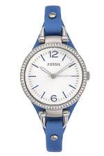 Fossil Women's Georgia Blue Leather Watch ES3470