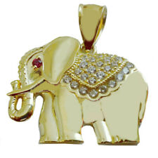 10K REAL YELLOW GOLD LUCKY ELEPHANT RED EYE'S  SIMULATED DIAMONDS CHARM PENDANT
