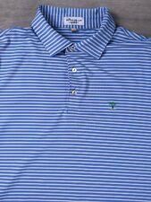 Peter Millar Summer Comfort Men's Short Sleeve Polo Shirt Large L Blue Striped