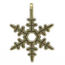 15 ANTIQUE BRONZE CHRISTMAS SNOWFLAKE CHARM~23x17.5mm~EMBELLISHMENTS~CARDS (X3)