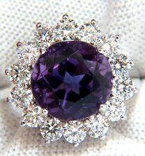 █$6500 6.43CT NATURAL BRILLIANT ROUND BRIGHT PURPLE AMETHYST DIAMOND RING 14KT