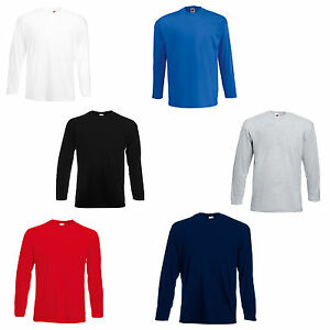 FRUIT OF THE LOOM LONG SLEEVE T-SHIRTS, 5 COLOURS, BN!