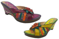 Ladies Shoes MG Pansy Leather Wedges Flower Detail Purple or Green Multi 6-10