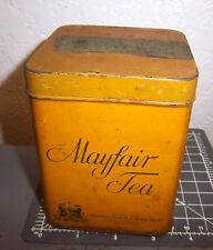 vintage mayfair Tea tin, basket fired Japan, great label on lid, nice colors