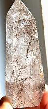 140g Rare!Natural Clear Copper Hair Rutilated Quartz Crystal Love Point Specimen