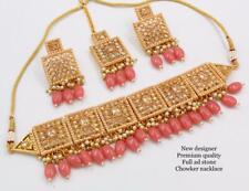 Bollywood Gold Plated Jewelry Indian CZ Kundan Choker Bridal Necklace Pink Set