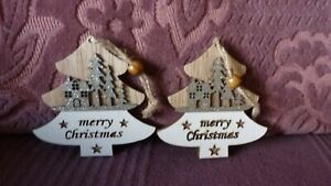 Two Decorations for Christmas Tree- Wooden Trees with Silver Glitter Scene-New
