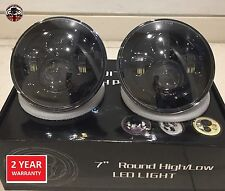 "Land Rover Defender 7"" LED headlights x2 E DOT Approved Td4 Td5 90 110 Black"
