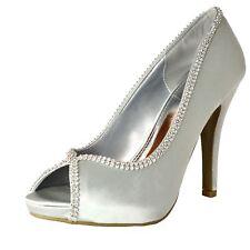 Women Satin Bridal Shoes High Heel Fashion Peep Toe Diamante Evening Dress Pumps