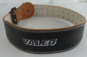 """VALEO 4"""" Weight Lifting Belt Leather Padded Back Support Black Size Small"""