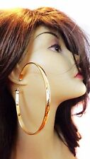 LARGE HOOP EARRINGS 3.75 INCH HOOP SHINY BRASS GOLD TONE THICK HOOP EARRINGS