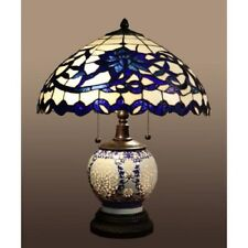 Blue Tiffany Style Table Lamp 21-inch Double Lit Akiko Stained Glass 3 Light New
